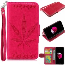 Classic Maple Leaf Embossed Leather Wallet Case for iPhone 6