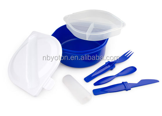 Plastic food storage containers with internal Division and cutlery. Suitable for Microwave