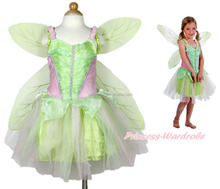 Tinker Bell Kids Girl Halloween baby girl fairy dress with butterfly wings Party Costume QBC-2178