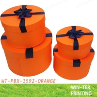 WT-PBX-1592-orange Wedding round paper gift box