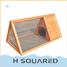 Portable wooden chicken coop nature wood rabbit farming cage with wire mesh factory