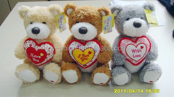 custom plush dog bear with heart shape rabbit worm character plush toys for kids