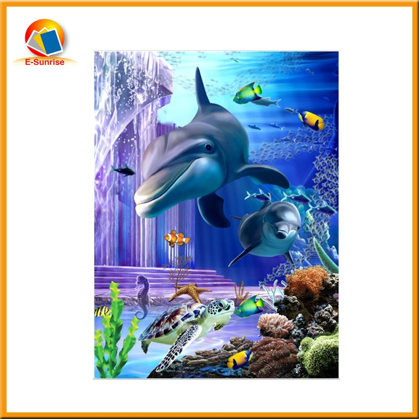 30x40cm home goods wall art 3d oil painting of dolhpin