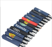 High quality 3 fols auto open auto close golf & promotional umbrella car logo printed auto stick/straight umbrella with case
