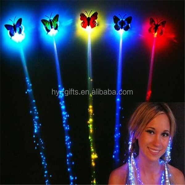 Wholesale Party Festive Butterfly Shape Flashing LED Hair, Colorful Light Party Up Flashing LED Hair For Gifts