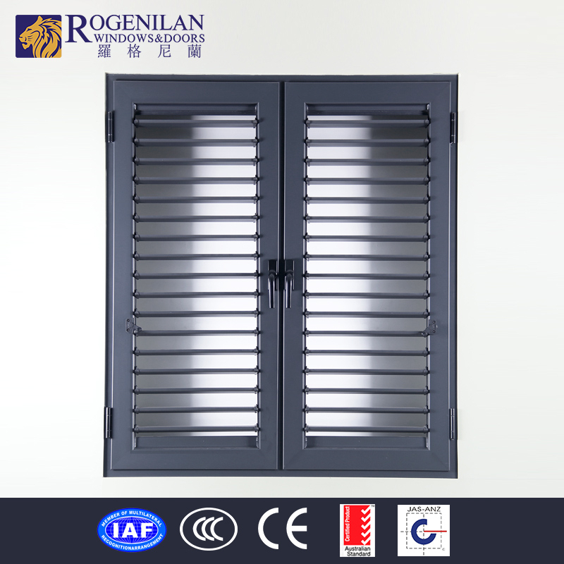 ROGENILAN bathroom window screen double opening aluminum louver window