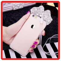 Luxury Diamond mobile phone case Minnie Ears Rhinestone butterfly pattern Clear tpu Cover for iphone 6 6s plus