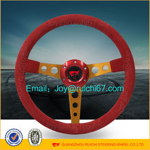 350mm Drift Style Red Suede Gold Spokes Racing Steering Wheel