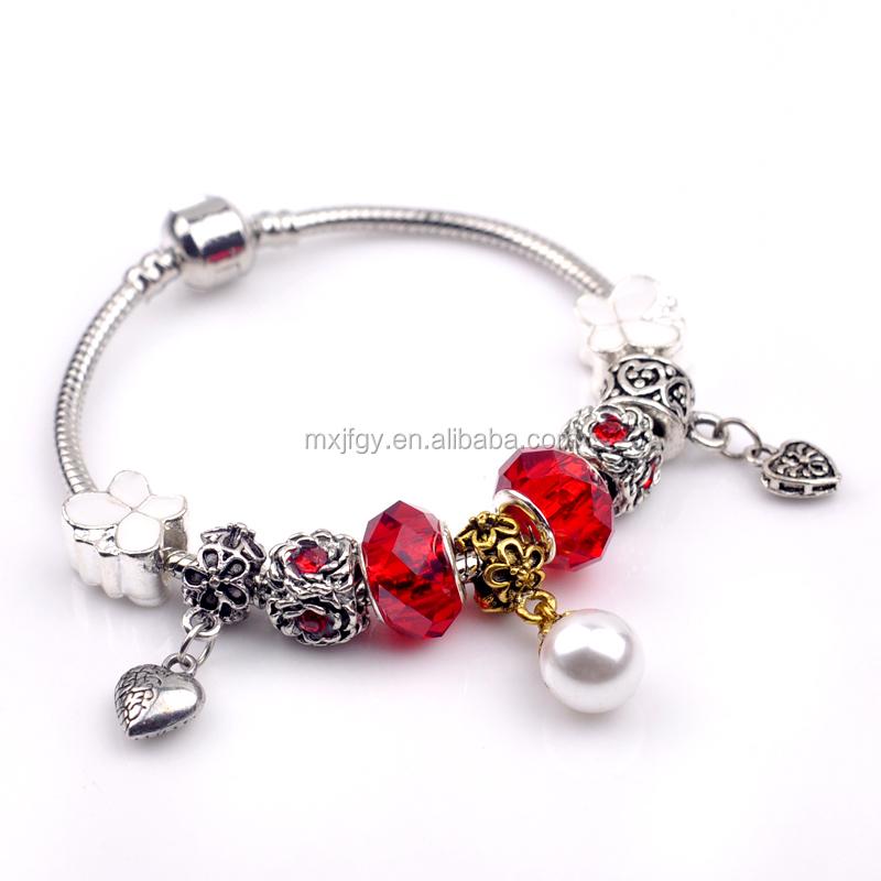 Charm bracelets for women with crystal fit pandora beads bracelets