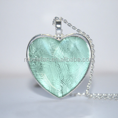 Winter Lake Heart Pendant, Blue Turquoise heart Necklace Glass Photo Cabochon Necklace
