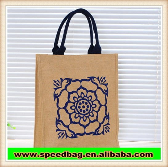 professional customize factory customize jute handbag environmental tote shopping bag advisment bag with print R268