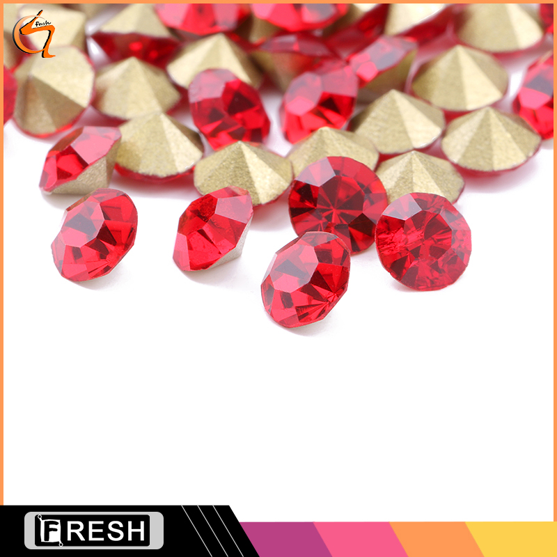 Round Pointy Bottom Glass Rhinestone Non Hot Fix Crystal Stones Clothing Jewelry Accessories