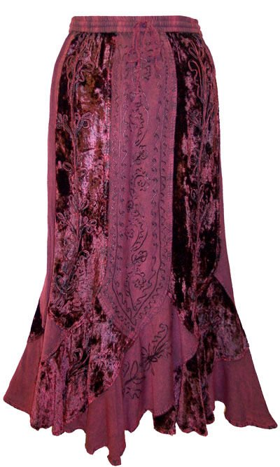 Luxurious Embroidered Rayon Velvet Gypsy Renaissance Gothic Renaissance Skirt