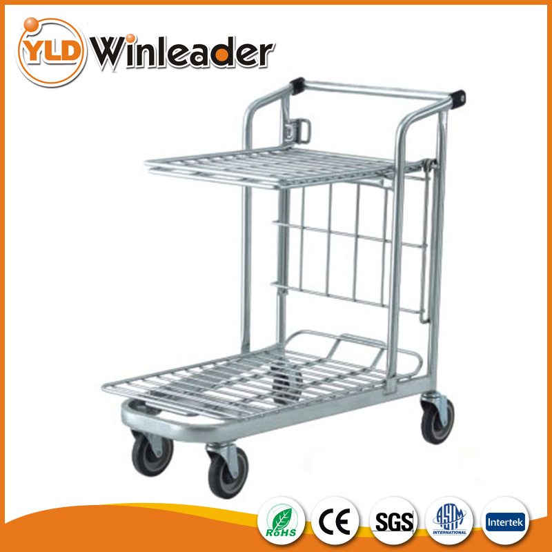 Double layers warehouse cart Tally Folding Cart Hand Push Cart For Warehouse