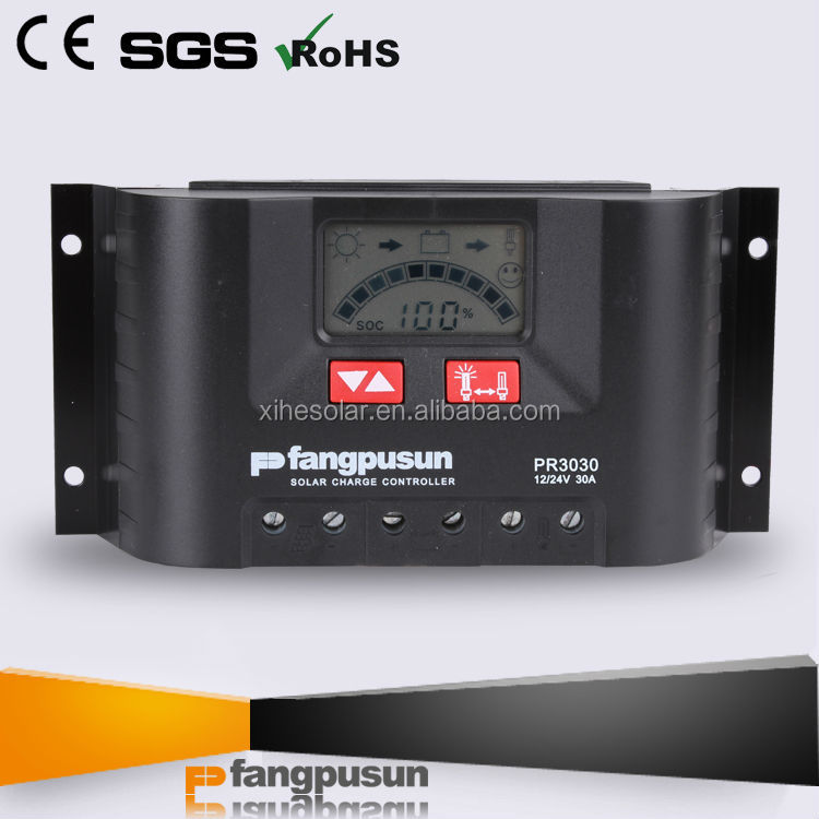 Fangpusun 12v/24v solar batteries intelligent LCD display hybrid solar charge controller price