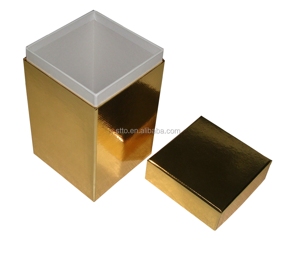 Handmade Soy Wax Candle Glass Packaging Gift rigid Box in gold special paper