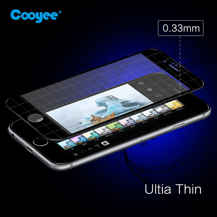 Phone tempered glass screen protector with full coverage 2.5D silk print for IPhone 6/6s plus
