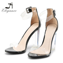 Women Chic Popular Footwear Sex Clear PVC Ankle Strap Sandal High Thick Heels 2017