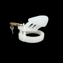 White Silicone Chastity Cage Cock With Lock