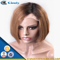 cheap price good quality brazilian hair middle part yaki short bob haircut full lace wigs for african american black women