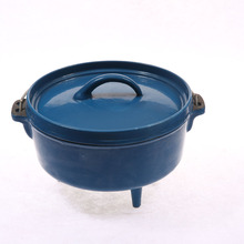 4QT 10 inch outdoor camping enamel cast iron dutch oven with wire handle and 3 leggs
