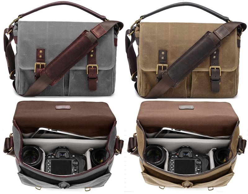 Vintage Leather Waterproof Digital DSLR Waxed Canvas Camera Bag