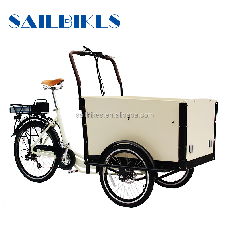 three wheels 250w brushless motor electr cargo bike for adults