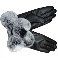 2018 New Collection Fashion Genuine leather Rex Rabbit Fur Cuff Wool Lined Sheepskin Ladies Dress Gloves