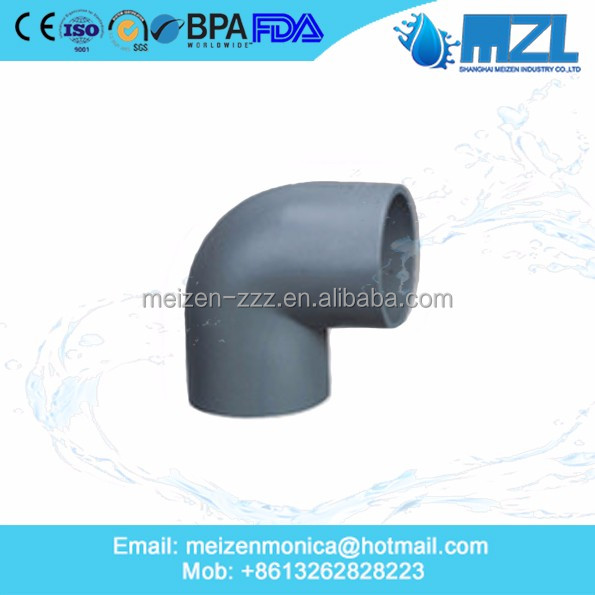 MZL PVC Industrial Plumbing SCH80 PVC Water Pipe Elbow 45 Degree Fitting