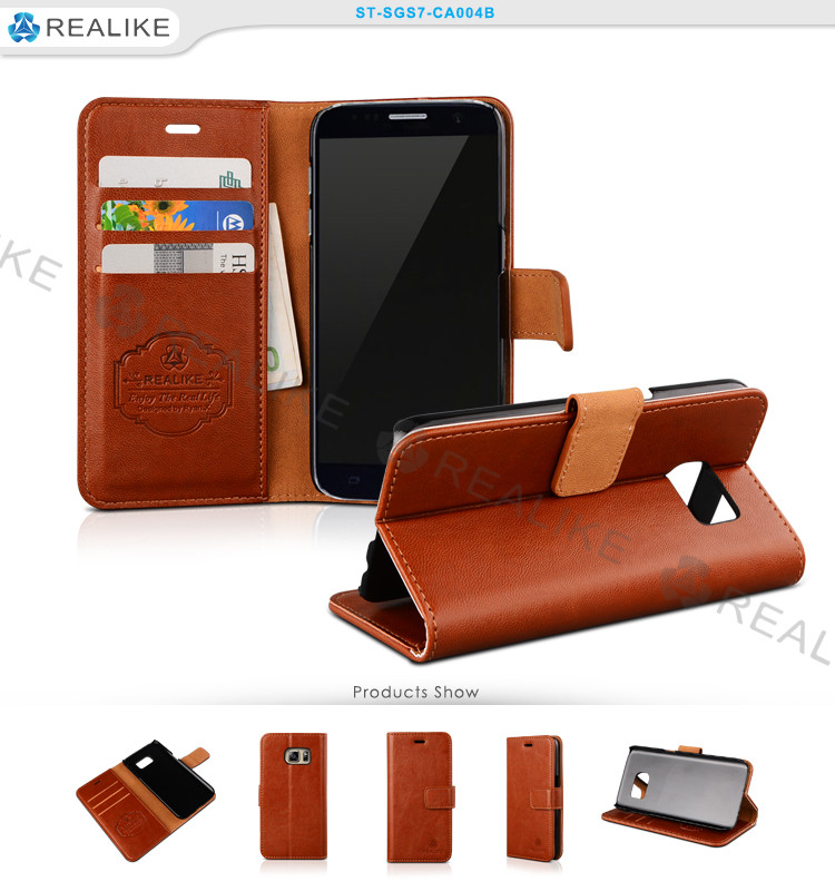 Leather Wallet Flip Case Slim Card Slot Cover with Stand Credit Card flip book case for S8