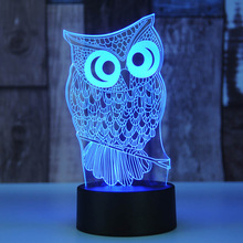 Christmas Kids Touch USB Table Lampara Lampe Baby Sleeping Nightlight Holiday Party Gifts 7 Color Owl 3D Visual Led Night Lights