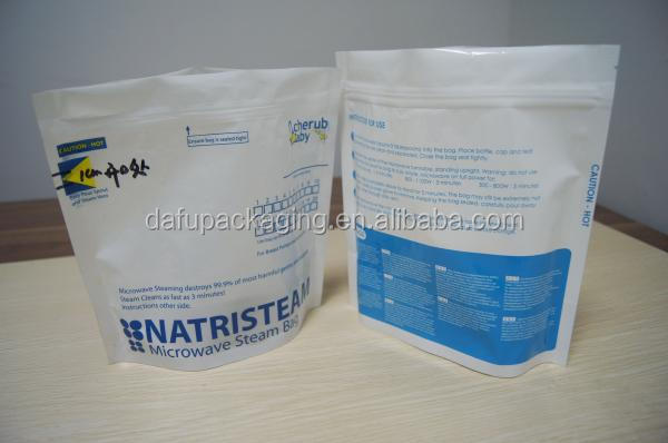 Ziplock Plastic Pouches Packaging , Plastic Blue Microwave Steam Steriliser Bags