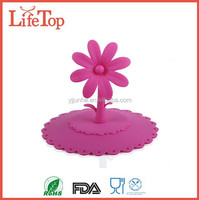 Food Grade Flower Shape Coffee Cup Covers Silicone Cup Lid