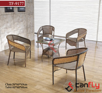 TF-9177 Top Quality modern design rattan wicker glass top office table and chair