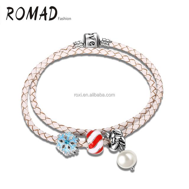 Pearl plastic beads bracelet crystal diamond unisex bangle sliver plated leather bracelet