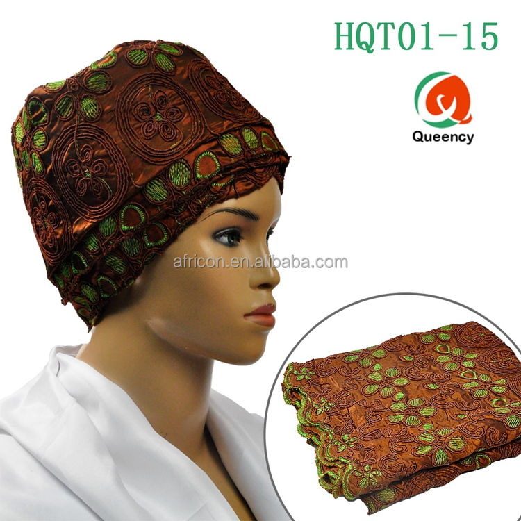 HQT01 Queency New Nigeria African Gele Head Tie Hair Turban Gele Head Scarf in Coffee Color
