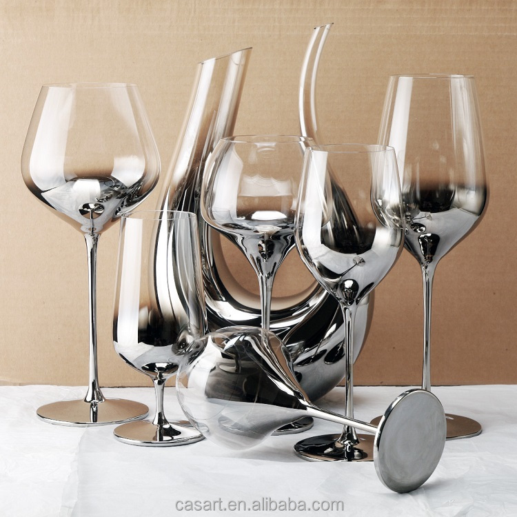 Casart hot sale different types silver electroplated laser wine glass