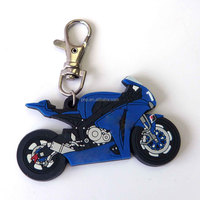 personality 3d blue mini motorcycle metal keychain