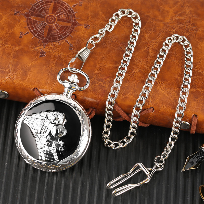 Glossy Steel Pocket Watch Black Epoxy Cover Silver Train on Railway Carving Pendant Chain Special Birthday Gifts Clock for Boys  (9)