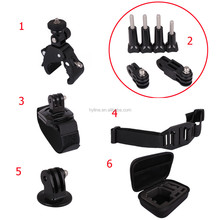 6 in 1 Mount Accessories Set Helmet Strap + Bicycle Handlebar Wrist Strap + Tripod Mount Adapter for Go pro H ero 1 2 3 3+