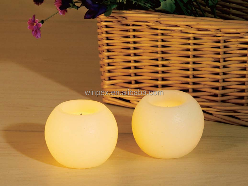Flameless Small Round Ball LED Wax Candles Sphere Candles With Faux Wick