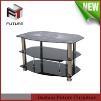 modern stainless steel frame cheap glass tv stand
