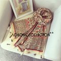 2016 cream color floral style border light weight oversize scarf with tassel