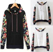 Korean hotsale girl's fashion autumn hoodie flower print tops long sleeve winter blouse