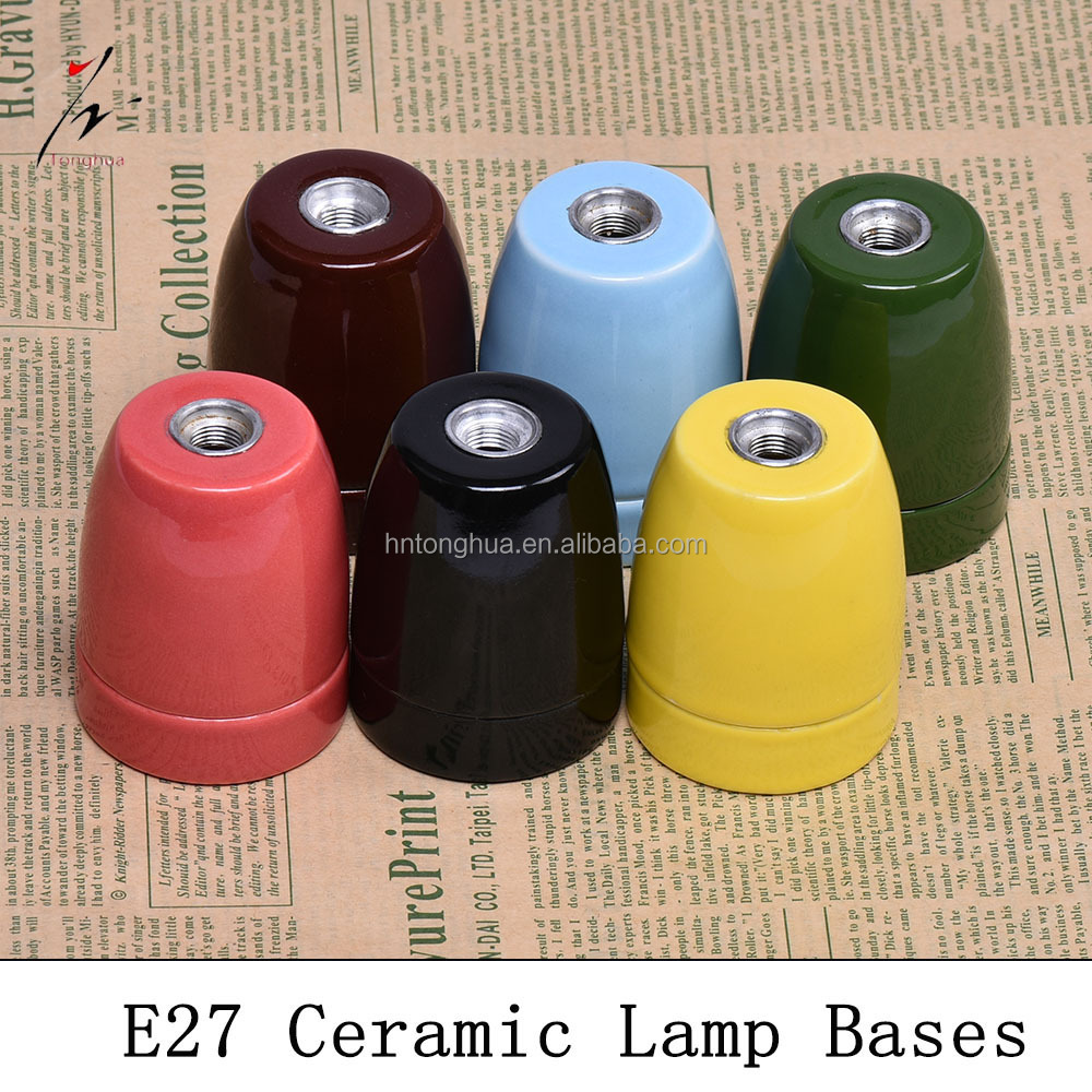 E27 CE Ceramic Lamp Holder Colorful Porcelain Screw Bulb Socket Vintage Light Bases