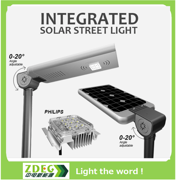 2017 smart green new product patented IP67 DC12V 30W all in one led solar street lights garden light