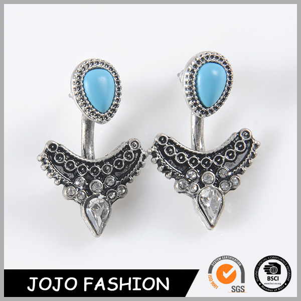 Black metal genuine austrian crystal earrings jewelry for young girls