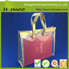 gold cosmetic bag transparent pvc beach bag flat handle plastic bag with button snap