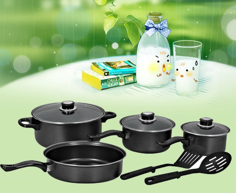 porcelain enamel cookware sets 9pcs cookware set