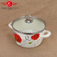 Hot sale decal enamel / ceramic 22cm cookware pot set/ soup pot stock pot